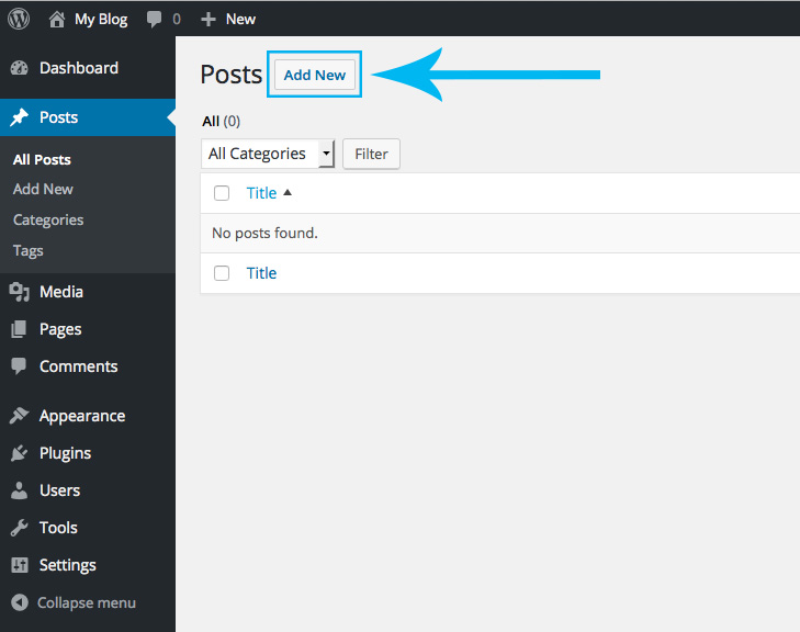 WordPress Add New Button Screenshot
