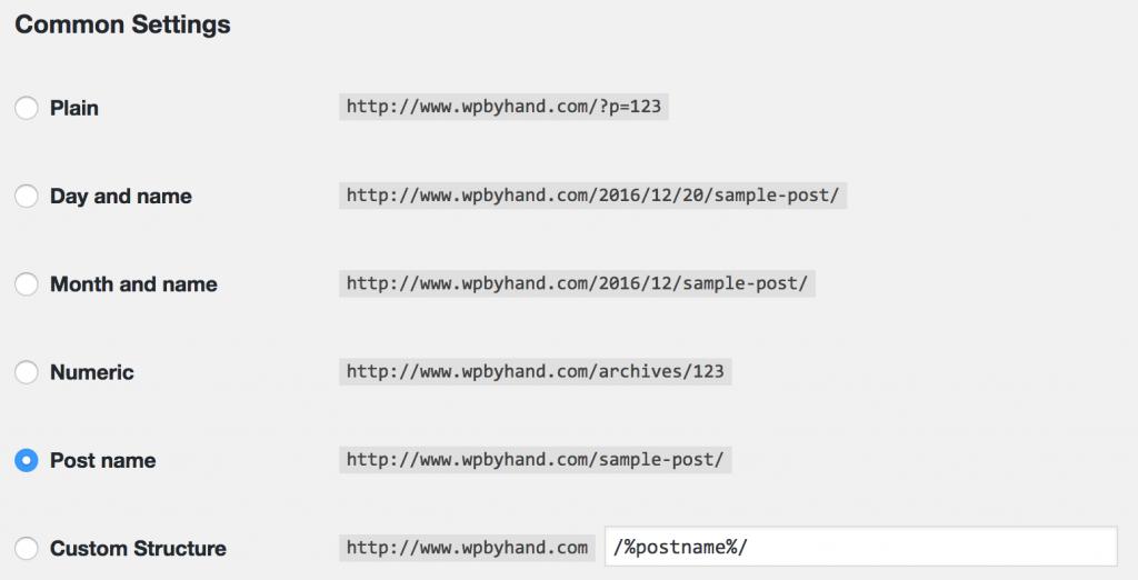 wordpress permalinks common settings