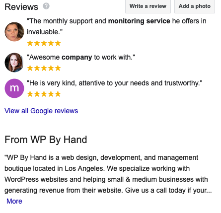 Display example of Google reviews and business description for Google My Business