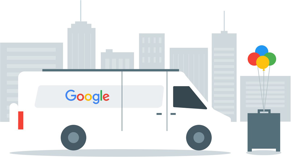 Google van depiction ready for a business to open